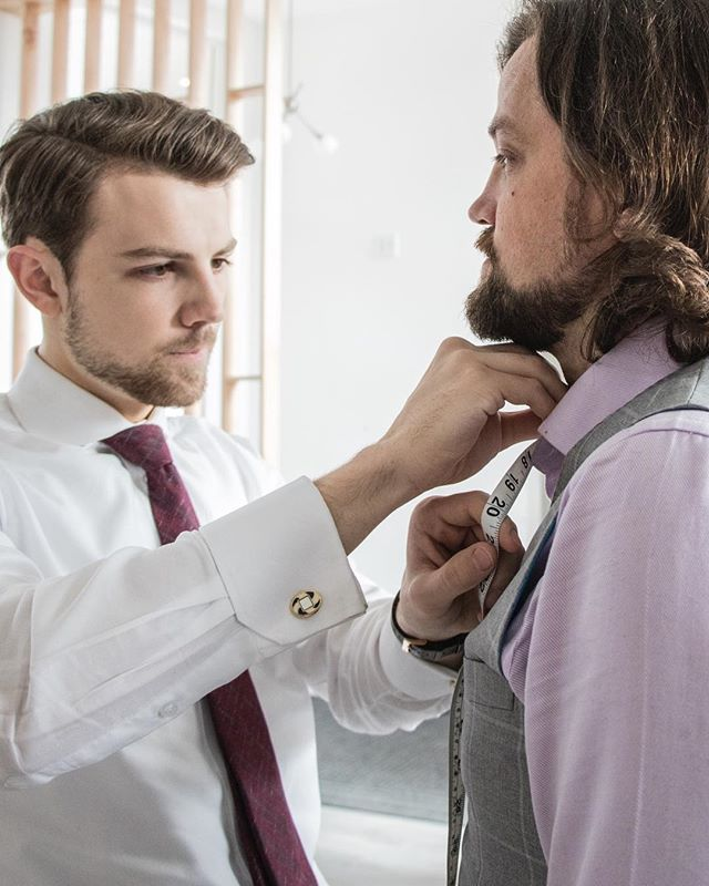 Bespoke Clothing - Kolby morgan fitting a client for a custom suit